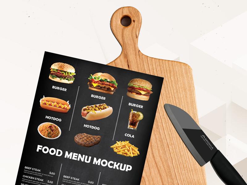 9f07f8195f086c681f44ae5f624bd089 - Free Food Menu Cutting Board Mockup Psd