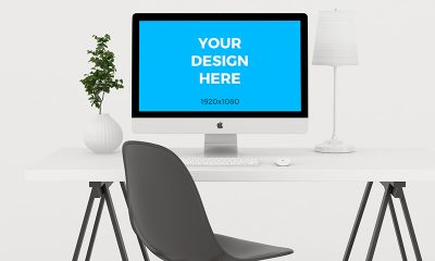 a93ab55e5987d508fe17df509cad25c2 400x240 - Free mockup - iMac on wooden table in minimalistic office