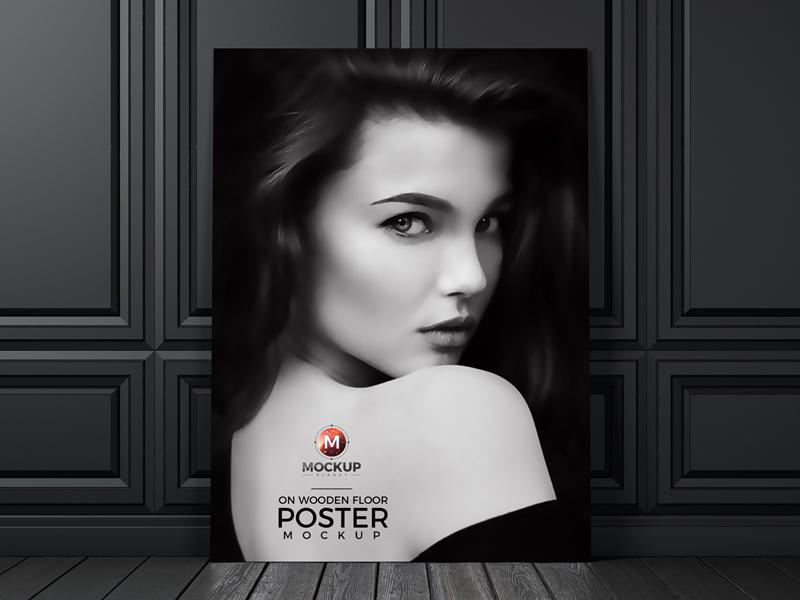 ac9ef862cff48d91ed64a797e2425b77 - Indoor Poster on Wooden Floor PSD Mockup