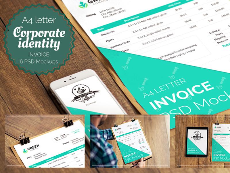 affdf82cfcd3e2114a6ad79d98edcc39 - 6 PSD Invoice Mockup templates + FREE mockup