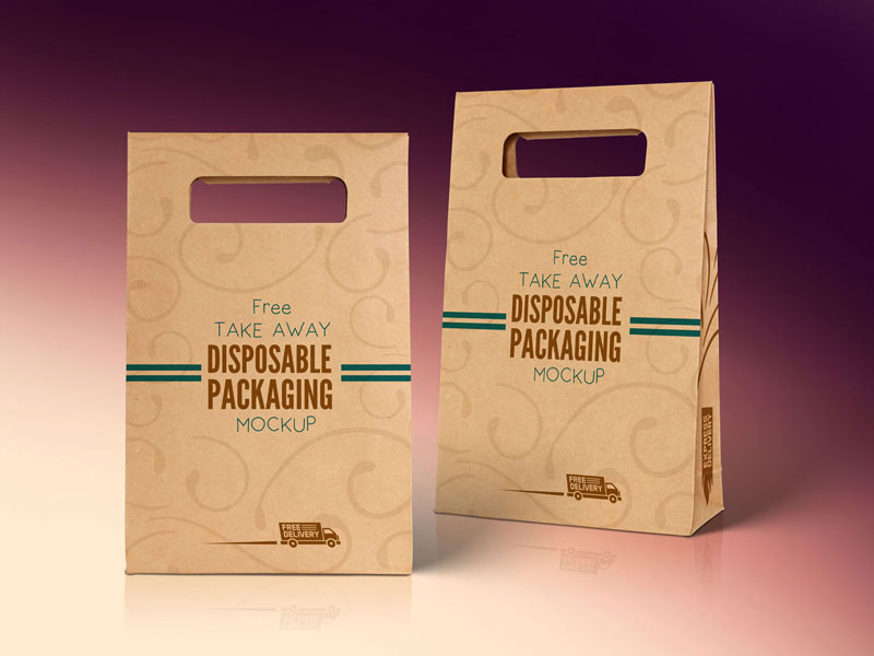b4e246e4c3ff16e584792bd2db31db42 - Free Kraft Paper Disposable Food Bag Packaging Mockup PSD