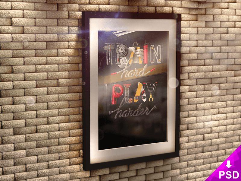 bb4bc522da6de3c21ea1361a984e1290 - Poster in 3D Frame on Brick Wall Mock-up