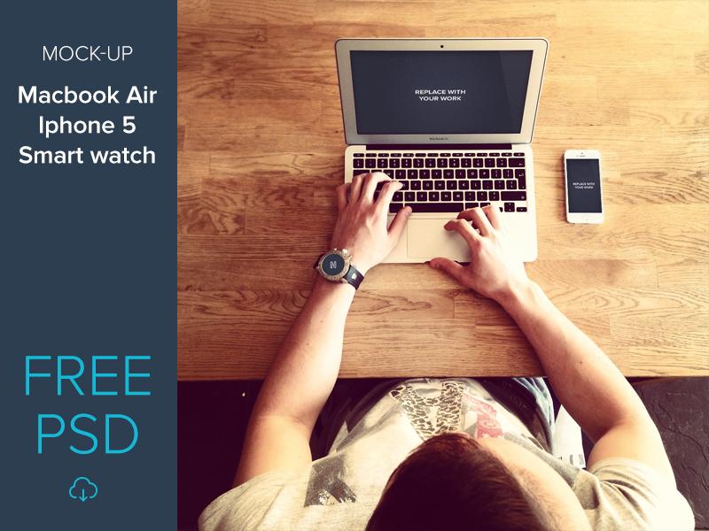 bdb514ee1a6d2709e882a43c2b606508 - Free mockup set macbook air, iphone 5, smart watch