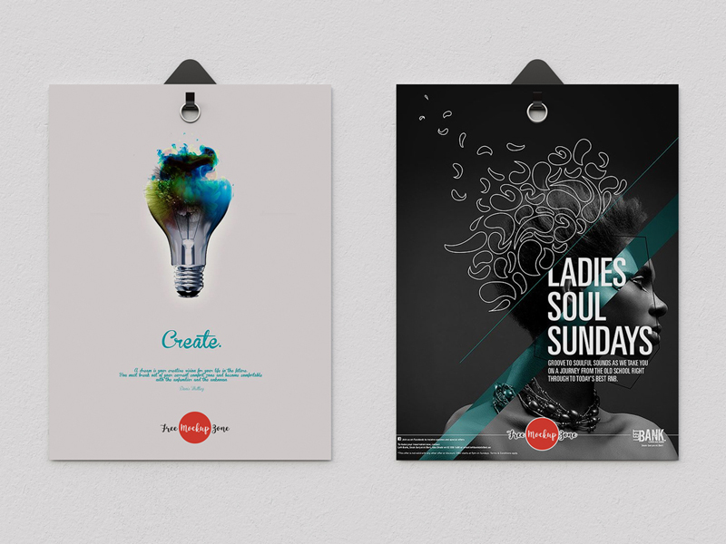 c2921347ddb92145933bb96ad293b389 - Free 2 Poster Hanging With Clips Psd Mockup