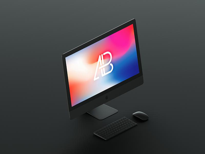 c342d0f9a8dd17414396e3bd050b6107 - Isometric Matte Black iMac Pro Mockup