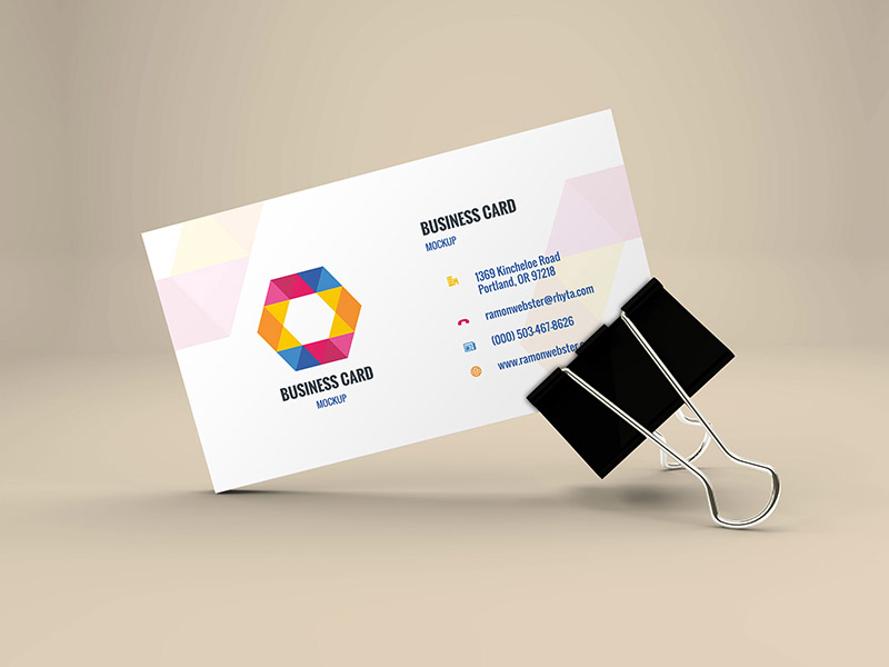 c5cd7212089f246794c63560d7d16972 - Freebie - Business Card Mockup In Binder Clip