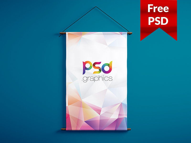 c6d6ff41044dad34c739a649fd297e67 - Wall Hanging Banner Mockup Free PSD