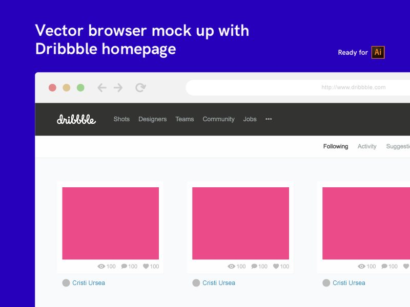 c9f877e27c8a1defd3d338df4206b7b2 - Vector browser mock up with Dribbble homepage (FREE)