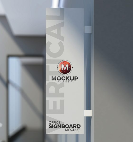 ccf511276a49aff8fdd1937bff5f531f 560x600 - Free Office Vertical Signboard PSD Mockup