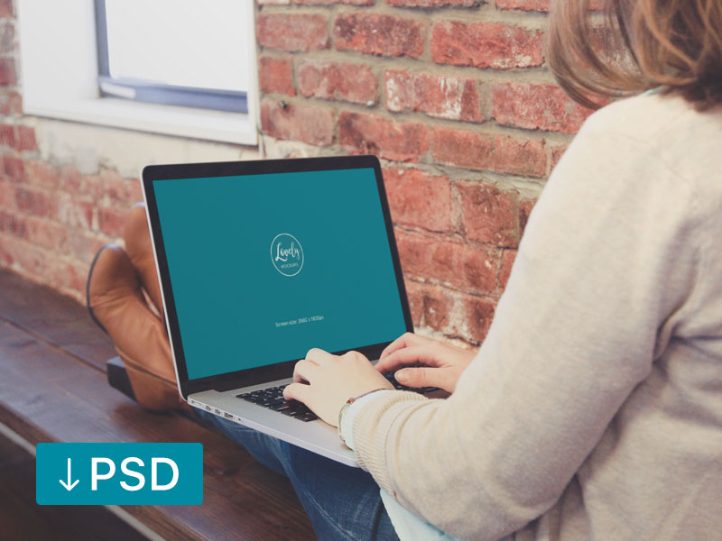 d3ad9bb1dcb78d3d15a95762e0297494 - Woman Sitting With Macbook On Her Knees (free mockup template)
