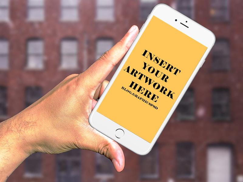 da2caf53e8a949cdd801f05a032b4b70 - Hand Holding iPhone 6s Free Mockup PSD