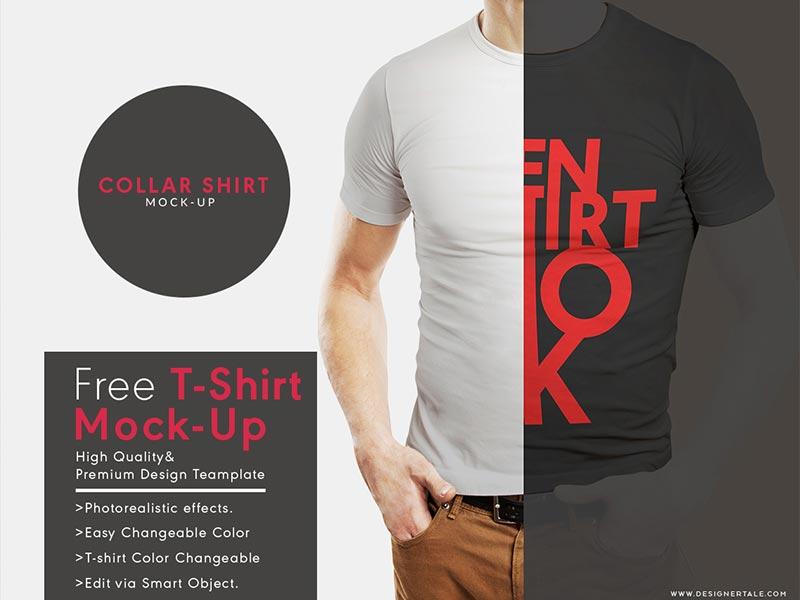 e30d8492539292ebfa8c6a9d50c0e60b - Free Rounded Collar T Shirt Mockup Psd