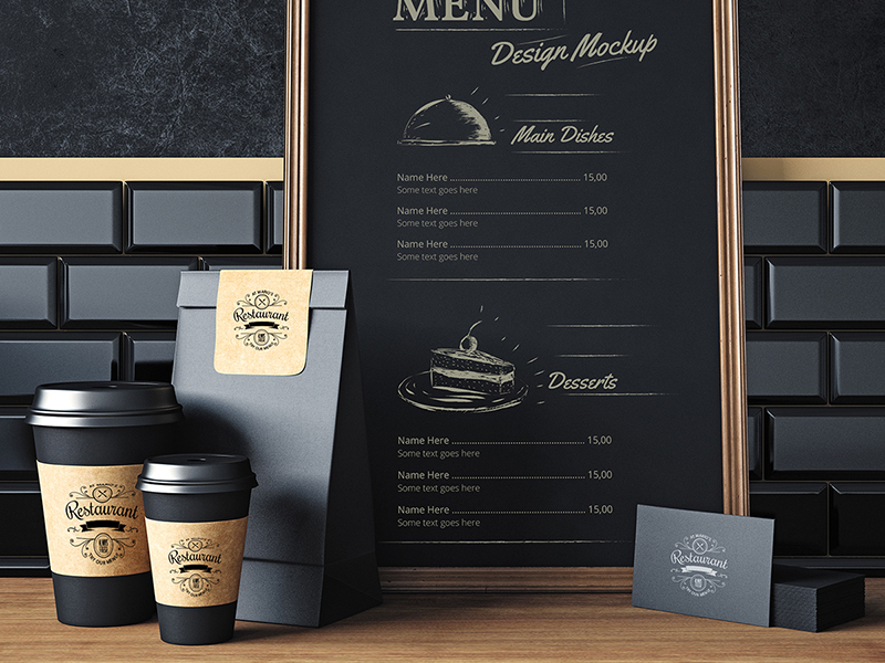 e600bf05d56de69763d00bda17bc71e5 - Restaurant elements mock up design Free Psd