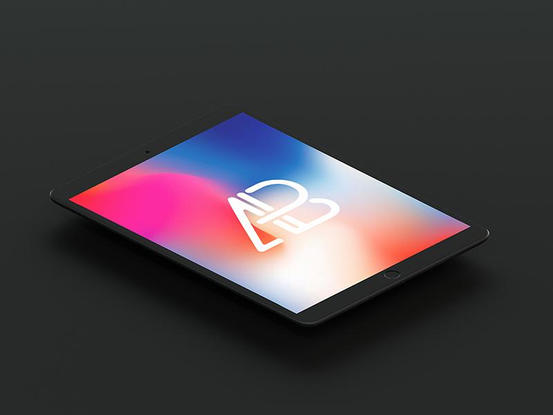 e7ffe913fa40f82fc42b6df16e76355c - Isometric Matte Black iPad Pro 10.5 Mockup