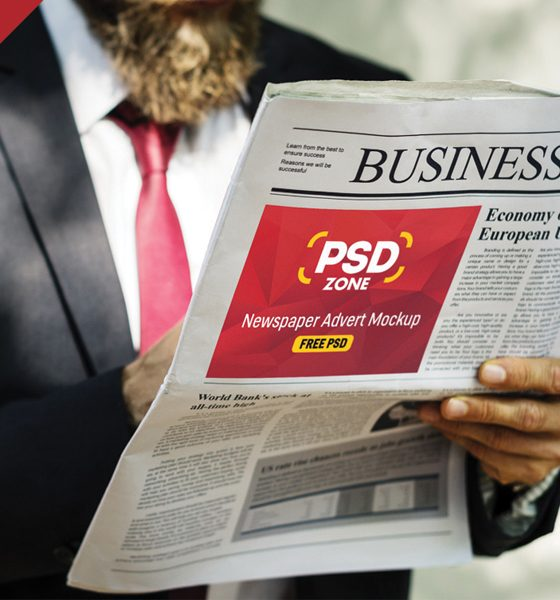 eaccb3525caa56499f71a82f90492d89 560x600 - Newspaper Advertisement Mockup Free PSD