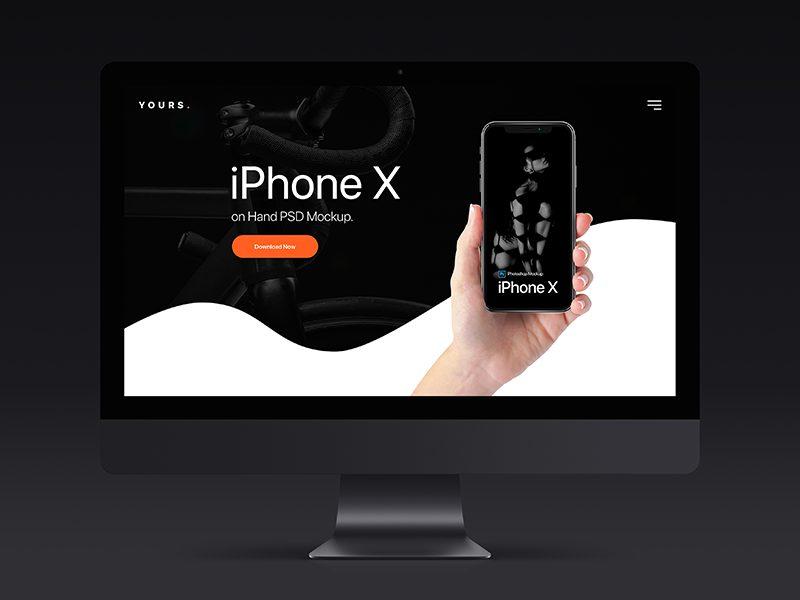 ecdcd627e1a91f7dd490d5d89d81ca75 - Free Dark Banner - iPhone X on Hand Mockup