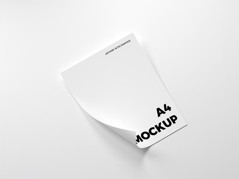f32280bd7d49cbf48284d4b9fff59b26 - Folded A4 Paper Mockup