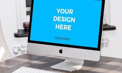 fa30db0d57d423e9070bd925bf739ed9 400x240 - iMac on wooden table free mockup