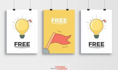 fba232517dec851417f7c58466e4fef1 400x240 - Free 3 Poster Mockup PSD Template